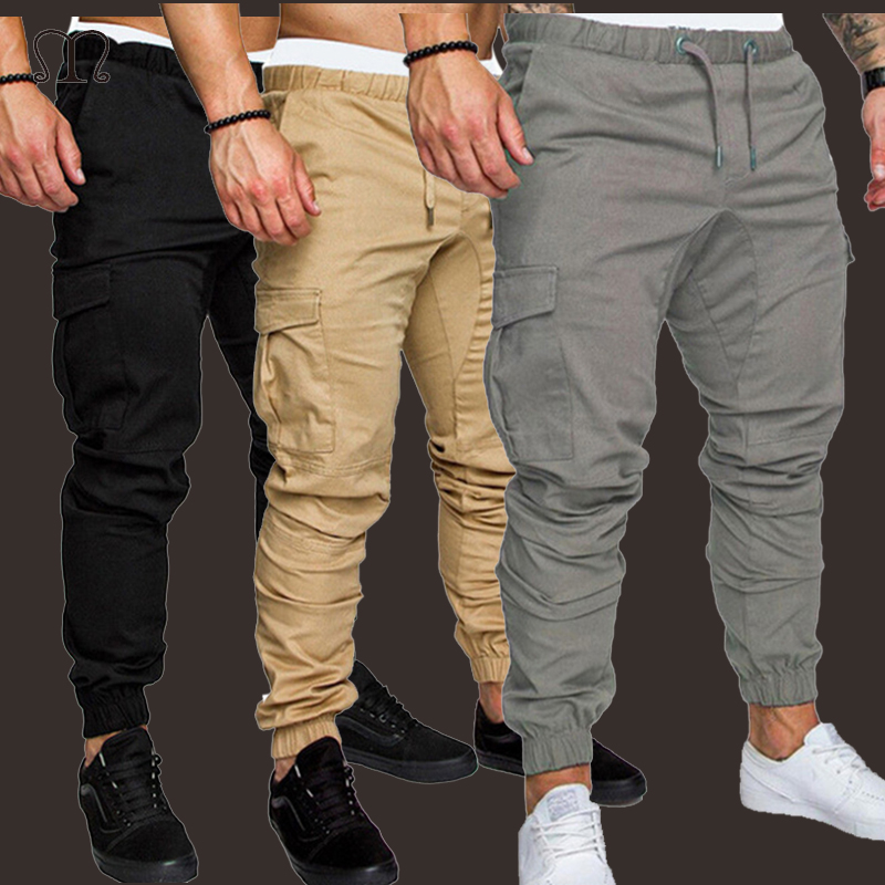 2019 Casual Mens Pants Fitness Fashion Breathable Slim Fit Sweatpants Bottom Male Bodybuilding Joggers Military Cargo Pants Men