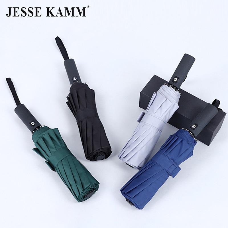 JESSE KAMM 115 cm 12 Speichen Voll Automatische Regenschirm Drei Folding 210tT Pongee Starke Winddicht Regenschirm Für Business Männer Frauen