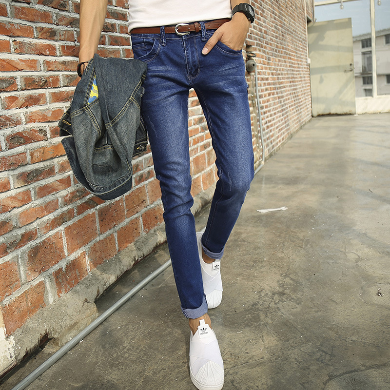 2017 cheap jeans male Korean Style stretch slim jeans men pants tide blue slim fit pencil feet jeans size 27-36