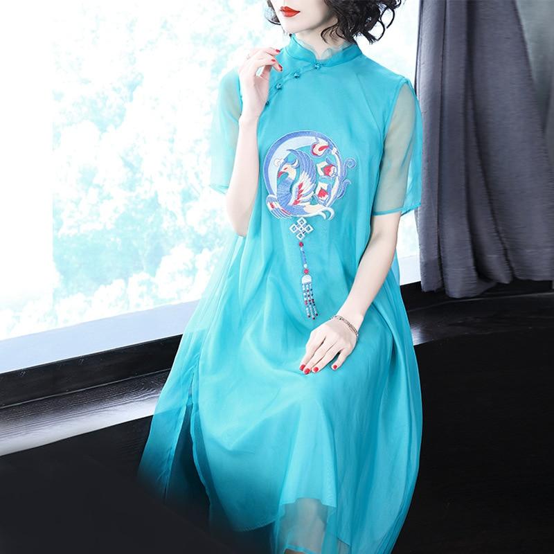 Китайский Стиль Новый 2018 Лето Для женщин высокое уличный стиль Стенд воротник вышивка свободные 100% шелковое платье дамы best качество платье
