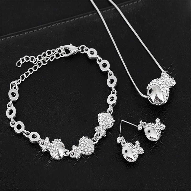 Fashion Colgante Oso Long Necklace Fish Sweater Necklaces Rhinestones Necklace for Women Birthday Gift T1319
