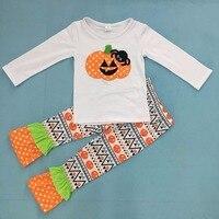 Halloween Girls Boutique Clothing Set Children White Pumpkin Top Baby Set Print Pants Ruffle Set Girls Clothes H002