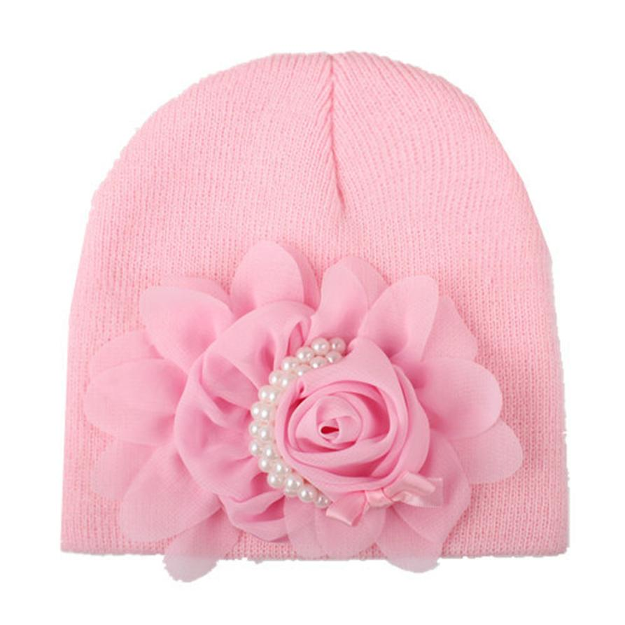New Arrival 2017 Newborn Baby Flower 16.5*10cm Hat Beanie Toddler Girls Photography Props baby Caps #JD520