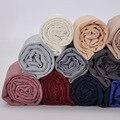 180x90 cm de algodón de las mujeres simple arruga Hijab pañuelo con flecos Popular musulmana bufanda chales envuelve grande pashmina bufandas /bufanda