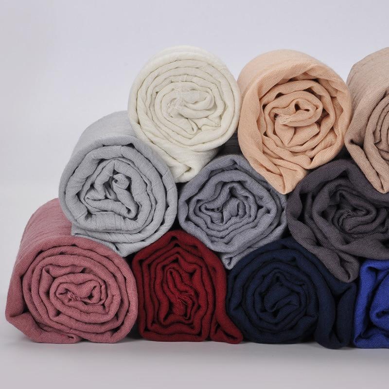 180x90cm Frauen Baumwolle glatt Falten Hijab Schal mit Fransen Beliebte Muslimische Schalldämpfer Tücher Wickelt große Pashmina Schals / Schal