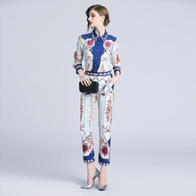 Fashion Runway Pants Suit Womens Long Sleeve Turn-down Collar Print Blouses and Casual Two Pieces Set Office Lady suit