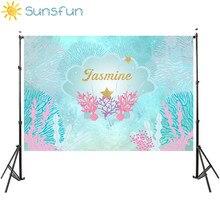 Sunsfun 7x5ft sirena foto sfondo bambini festa di compleanno sfondo mare tema sfondo meduse Photocall