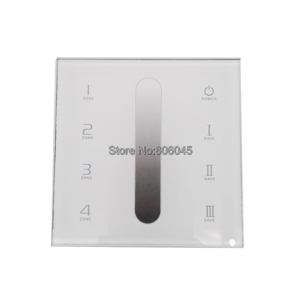 AC110-240V DX5 Touch Panel Wall Mount LED Dimmer Controller 2.4G RF Wireless 4 Zones Control DMX512 Signal Output ac 100 240v led dmx512 rgb controller 86 glass touch panel rf 2 4g dmx512 signal dx3 for rgb led strip free shipping