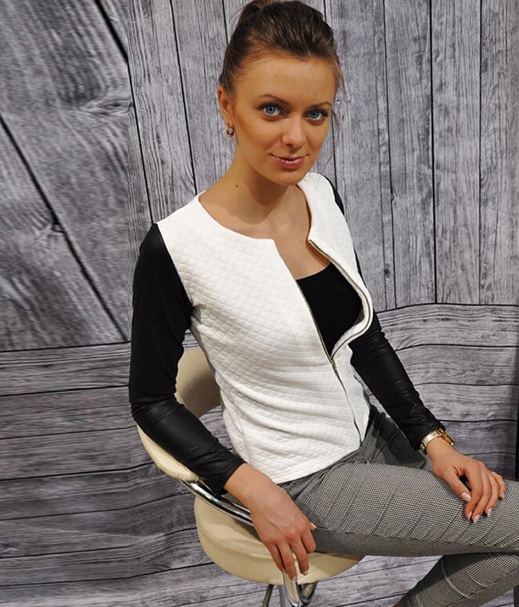 19 Women Basic Coats Jackets Spring Black Zipper Crop Pu Jacket Punk Style Bandage Women PU Leather Jacket Coat Crop Tops 1