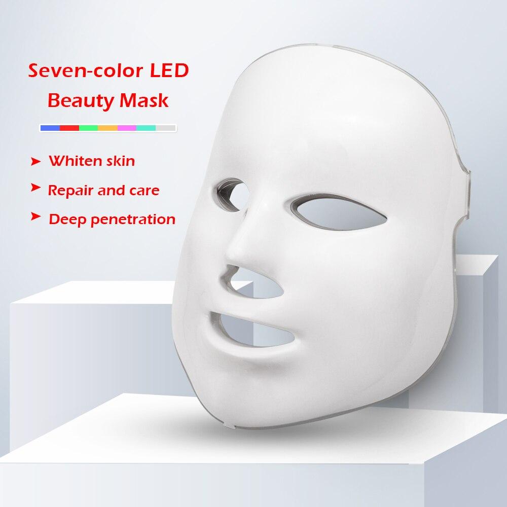 7 cores led máscara facial beleza cuidados com a pele rejuvenescimento rugas acne remoção rosto beleza terapia clareamento apertar instrumento