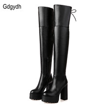 Fashion Black Female Winter Boots for Women 2016 New Arrival Autumn Over The Knee Boots Platform Chunky Heels Shoes Big Size 42