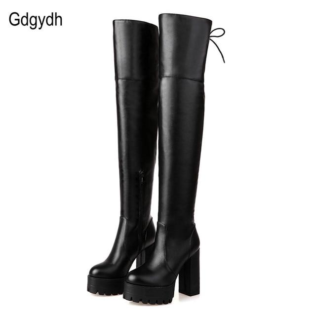 9b087854c Gdgydh أزياء الشتاء الأسود أحذية للنساء 2018 جديد وصول الخريف أنحاء الركبة  الأحذية منصة حذاء بكعب