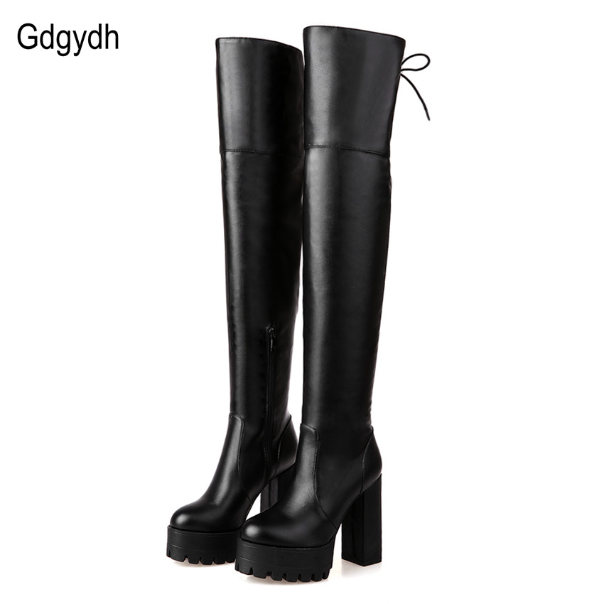 Gdgydh Fashion Black Winter Boots for Women 2017 New Arrival Autumn Over The Knee Boots Platform