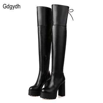Gdgydh Fashion Black Winter Boots for Women 2018 New Arrival Autumn Over The Knee Boots Platform Chunky Heels Shoes Big Size 42 anmairon new winter boots concise style women shoes over the knee high boots platform round toe thick heels shoes platform boots