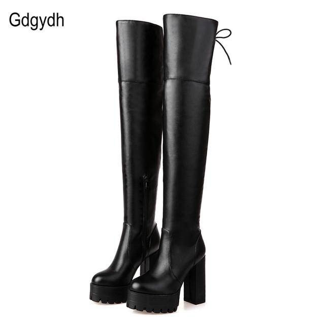 Gdgydh Fashion Black Winter Boots for Women 2018 New Arrival Autumn Over The Knee Boots Platform Chunky Heels Shoes Big Size 42