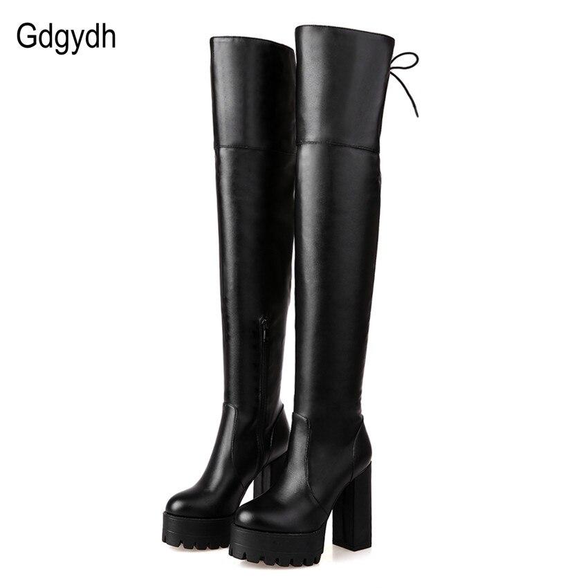 dbf6c6ca5 Gdgydh Moda Preto Botas de Inverno para As Mulheres 2017 Outono Nova  Chegada sobre O Joelho Botas de Plataforma Saltos Robustos Sapatos Tamanho  Grande 42