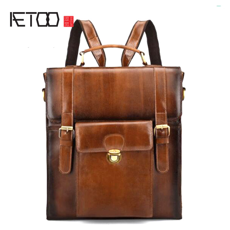 AETOO New hand-brushed suede leather men's backpack trend Europe and the United States wind bag men's retro backpack