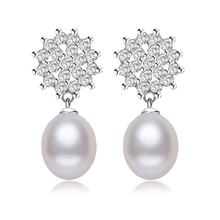 LACEY stud earrings genuine freshwater pearl earrings 925 sterling silver earrings for women with gift bag ,8-9MM PEARL Jewelry