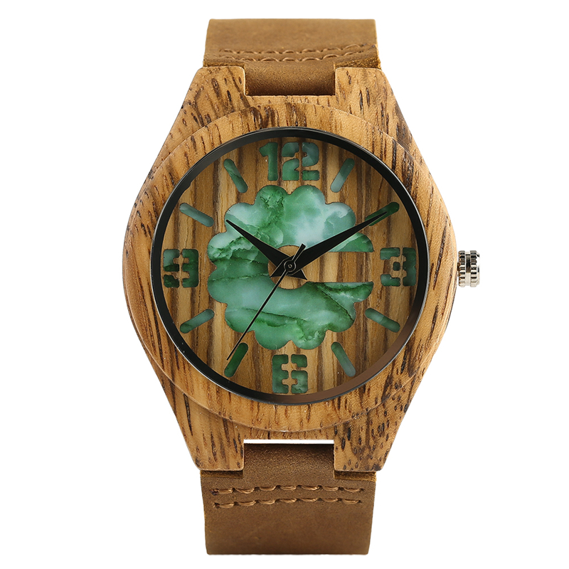 Unique Carving Design Wood Watches Genuine Leather Watchband Casual New Quartz Wristwatch Gifts for Men Women