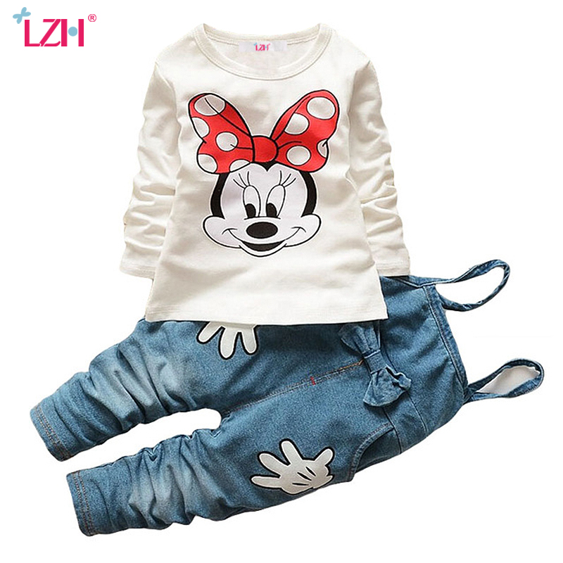LZH Children Clothes 2017 Autumn Winter Girls Clothes T-shirt+Pants 2pcs Christmas Outfit Kids Sport Suit For Girl Clothing Sets 2pcs children outfit clothes kids baby girl off shoulder cotton ruffled sleeve tops striped t shirt blue denim jeans sunsuit set