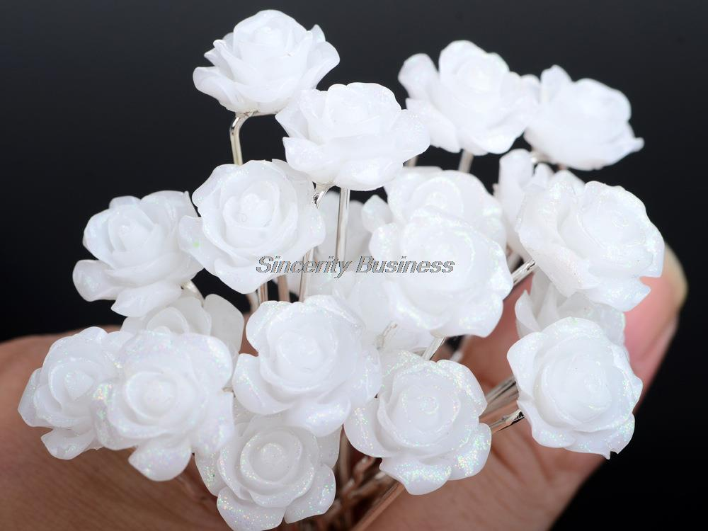 NEW 20 Pcs Lots Wedding Bridal Crystal Faux Pearl Flower Hairpins Hair Pins white camellia
