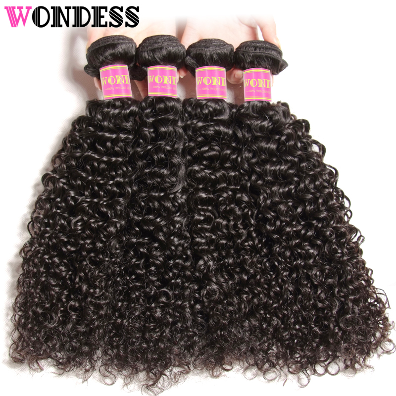 Brazilian Curly Weave 4 pieces 100% Virgin Hair Bundles 8-26inch Unprocessed Human Hair Extensions Natural Color Wondess Hair