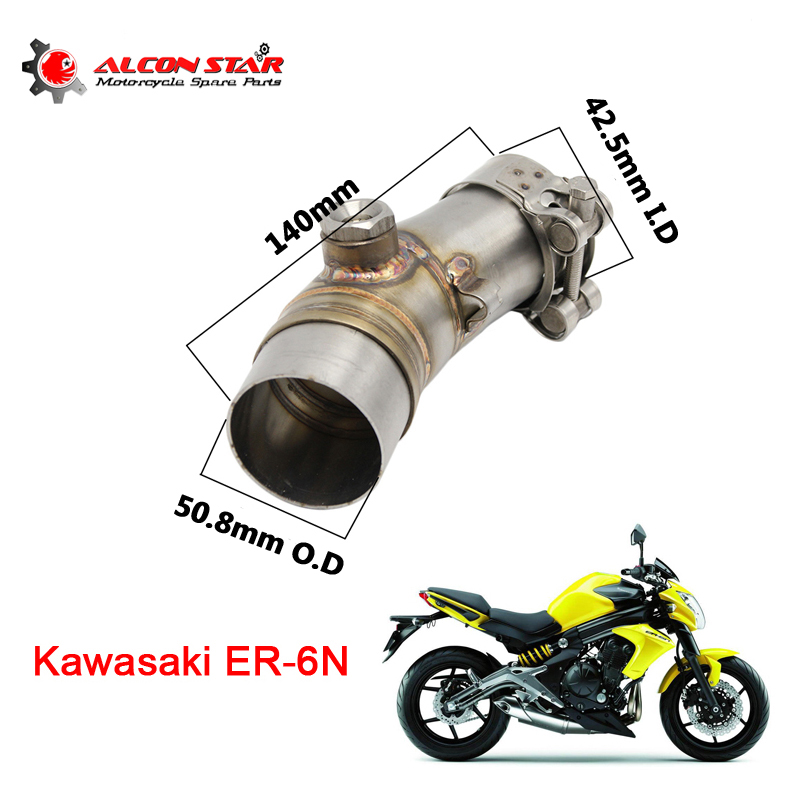 Alconstar Middle Connect for Kawasaki ER6N Motorcycle Exhaust Pipe Muffler Escape Connecting Pipe Front Link Pipe Moto