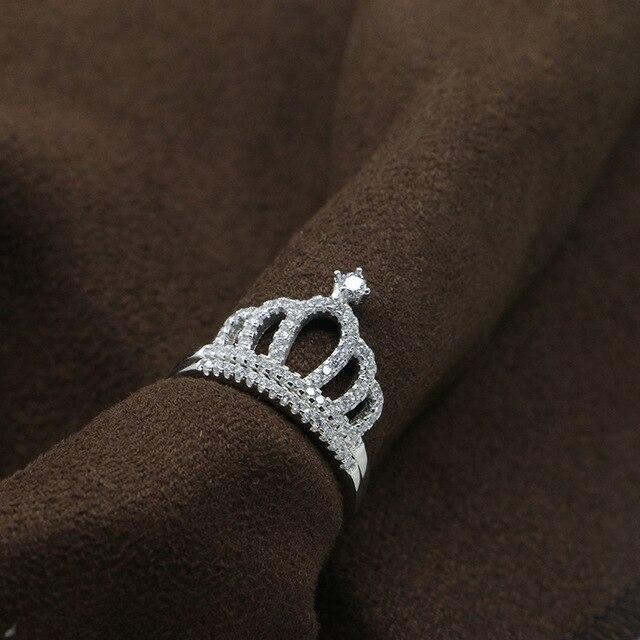 Brand new 2 Rings Genuine Silver 925 Princess Crown Rings Women 750 White  AU39
