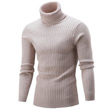 Winter High Neck Thick Warm Sweater Men Turtleneck Brand Mens Sweaters Slim Fit Pullover Knitwear Male Double collar S-3XL