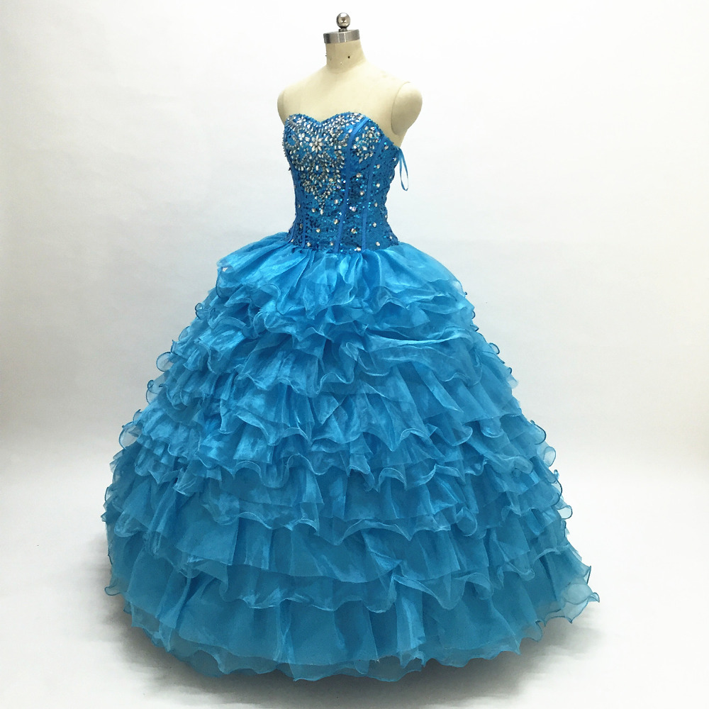 Royal Blue Masquerade Ball Gown Puffy Quinceanera Dresses Girls ...