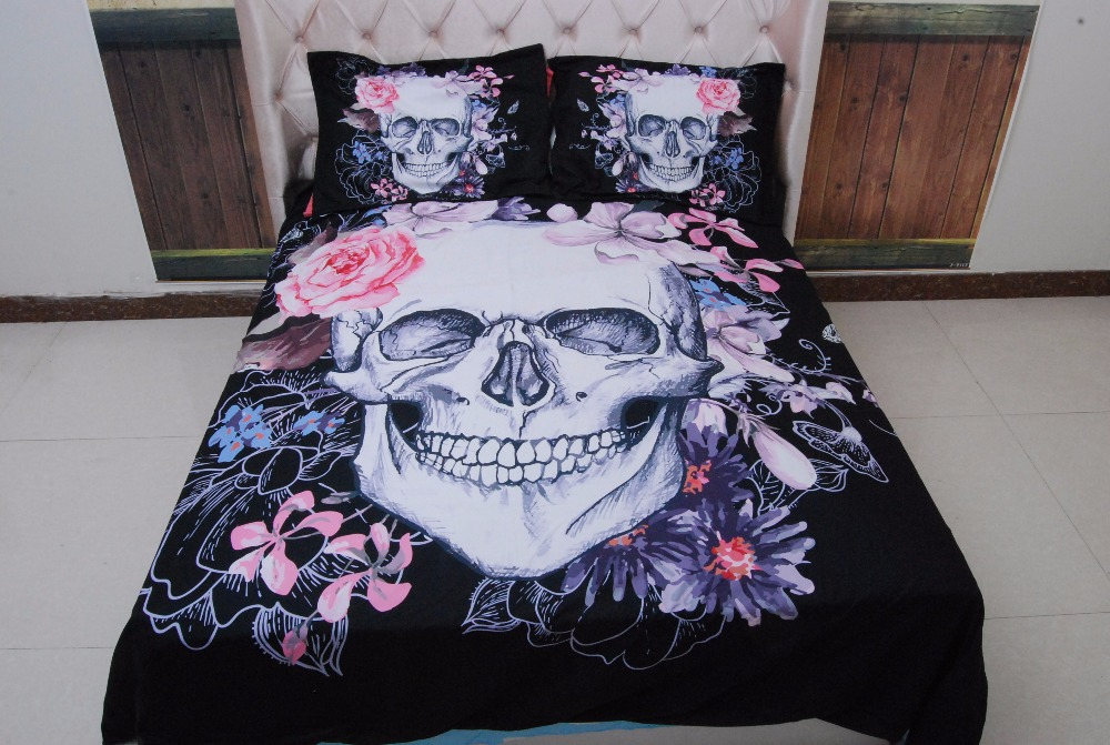 3 PCSBlack White Skull Flower 3D Printed Comforter Bedding Full Queen Super Cal King Size Bed Sheets Duvet Cover Sets Adult Home