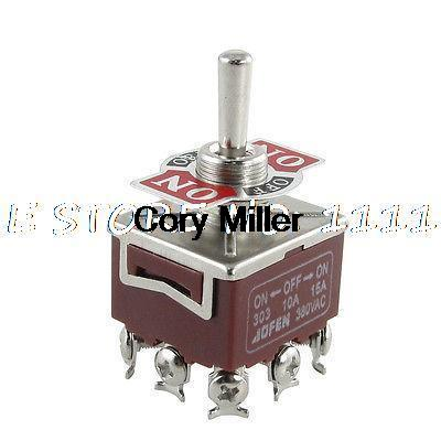 3PDT ON/OFF/ON 3 Position 9 Pin Panel Mount Toggle Switch 1 pc new red 9 pin on off on 3 position mini toggle switch ac 6a 125v 3a 250v ve521 p