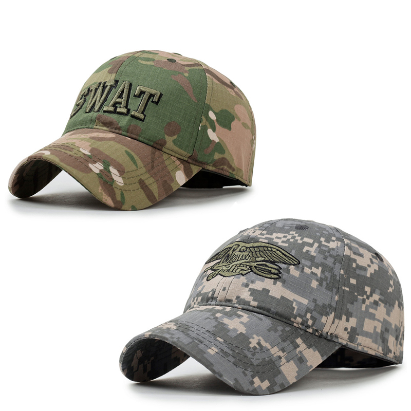 9e1ddb3ff09 Men s Baseball Cap Tactical Army Soldier SWAT Snapback Hat Camo Outdoor  Camping Hunting Hiking Casual Camouflage Airsoft Hat