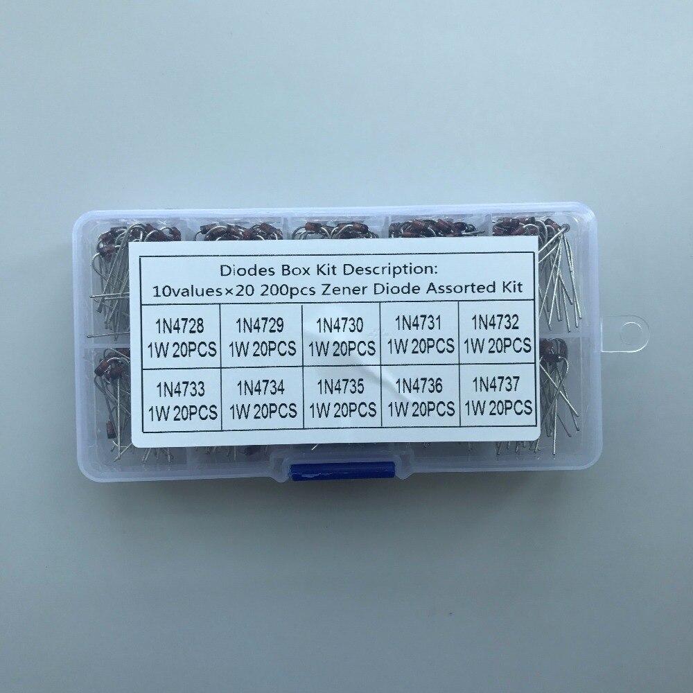10 Values 200pcs (1N4728~1N4737) 1N4729 1N4730 1N4731 1N4732 1N4733 1N4734  1N4735 1N4736 Zener Diode Assortment Electronic Kit