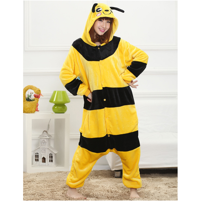 Lovely Yellow Bee Pajamas For Adult Costume Party Festival Soft Women Flannel Onesie Cartoon Jumpsuit Kigurumi Winter Sleep Suit (6)
