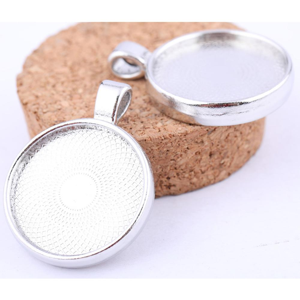 Onwear 5pcs Fitting 25mm Double Side Cabochon Settings Diy Blank Pendant Necklace Bezel Trays For Jewelry Making