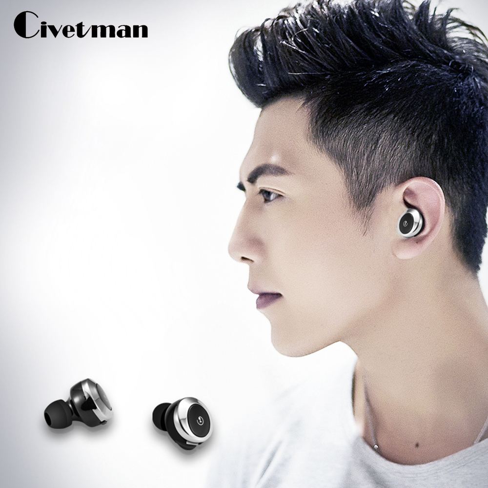 Civetman Wireless Bluetooth earphone invisible in Ear Bluetooth earbuds mini Bluetooth headset with microphone Cordless earphone cinkeypro mini bluetooth headset 4 1 wireless invisible sport earphone car ear earbuds for iphone 7 6 computer universal