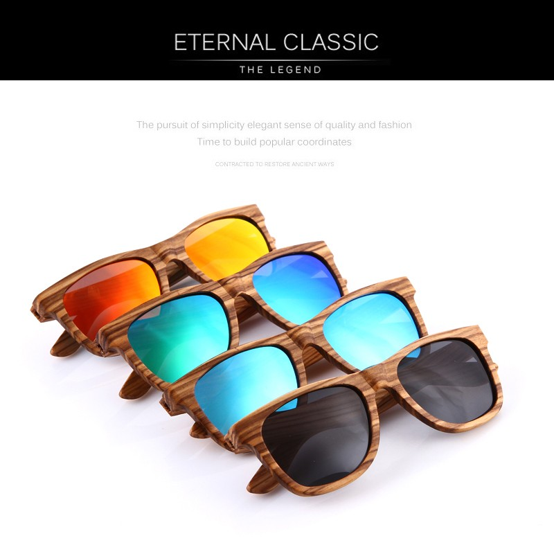 KITHDIA Real Zebra Polarized Handmade Bamboo Wood Sunglasses 11
