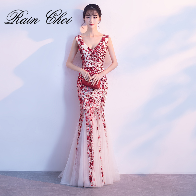 Mermaid   Prom     Dresses   2019 V-neck Sleeveless Long Party   Dresses   Formal Elegant   Dresses   Vestido Formatura