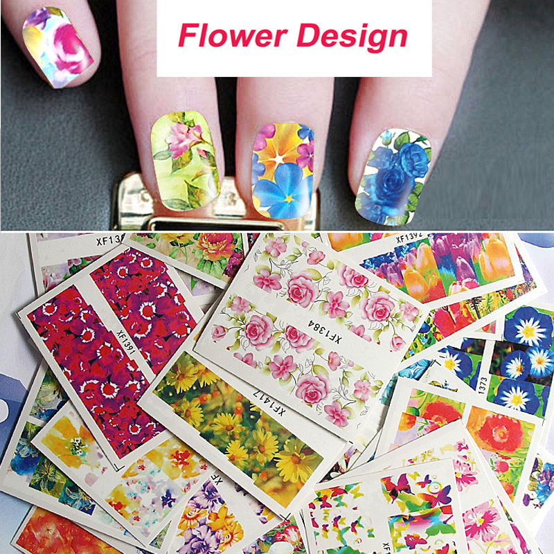 50pcs/Lot Hot Fashion Water Transfer Nail Sticker Nail Art Water Decals Flower Design Colorful Wholesale Nail Wraps  New Arrive