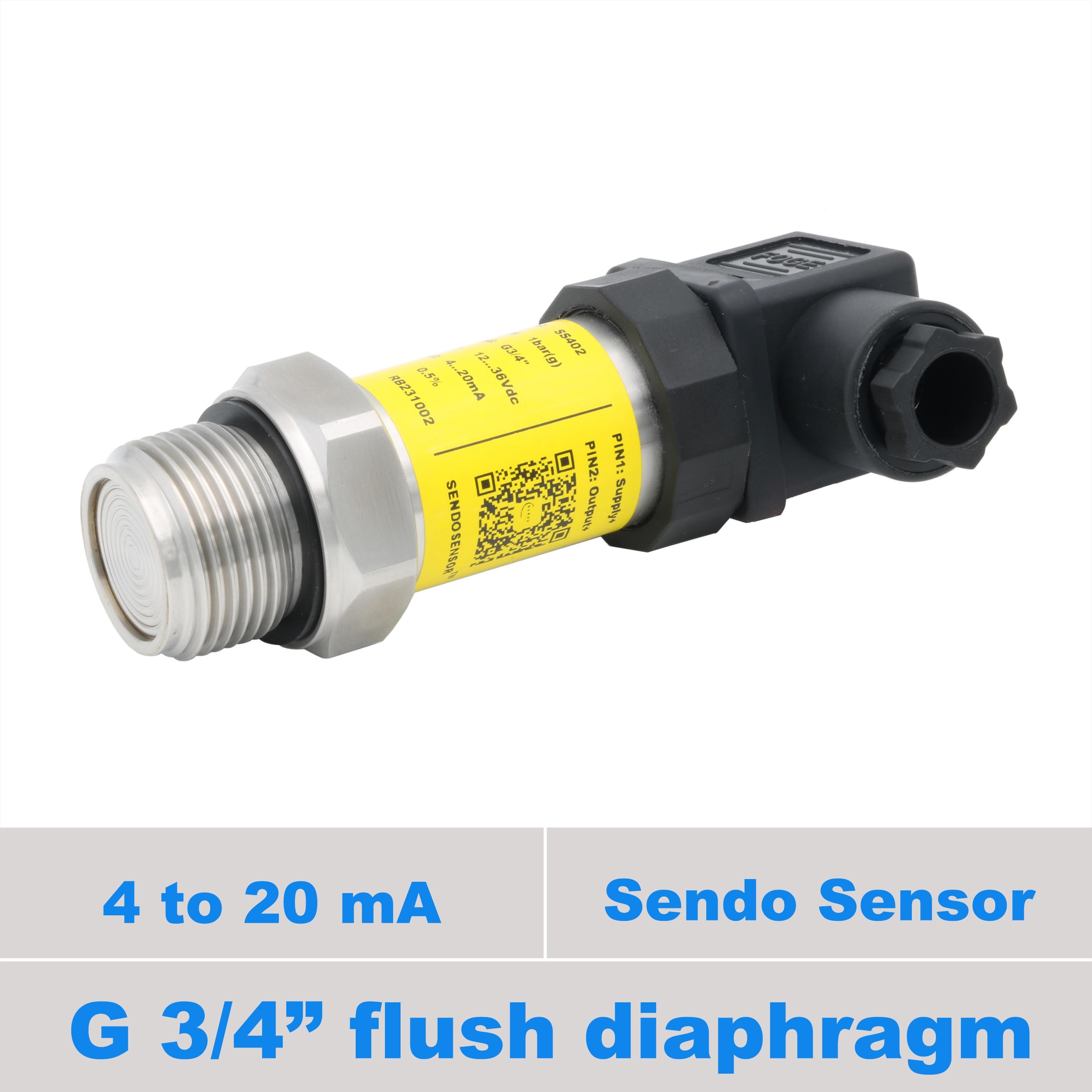 g 3 4 flush pressure sensor 4 20mA 1 to 24bar 15bar 9bar 5bar 3bar 1