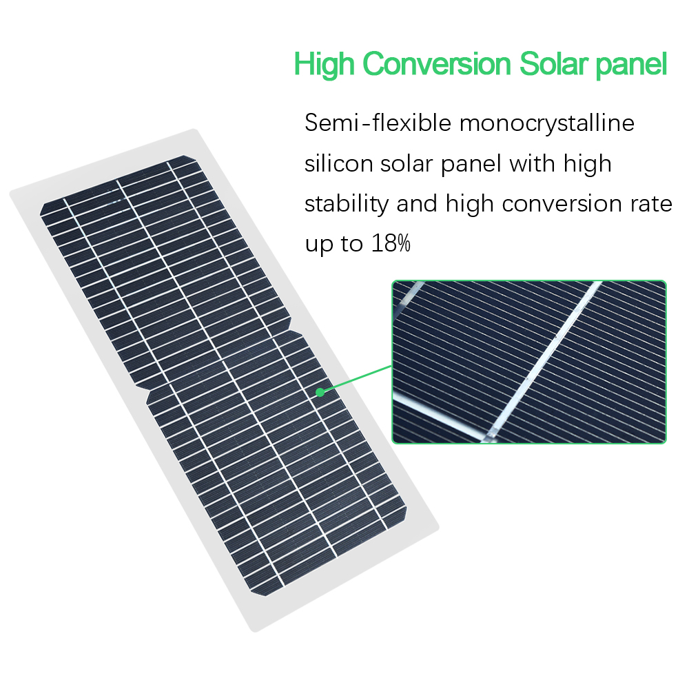 Image 5 - Xinpuguang 10W 18V/12V/6V Solar Panel Semi Flexible Cable Monocrystalline Cells DIY Module USB Connector Charger DIY Kit Outdoor-in Solar Cells from Consumer Electronics