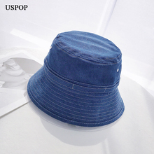 USPOP 2019 new denim bucket hats women men short brim flat top unisex casual spring summer cotton
