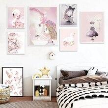 Watercolor Pink Unicorn Deer Rabbit Swan Canvas Art Prints Girls Room Decor Nordic Cartoon Animals Painting Wall Pictures