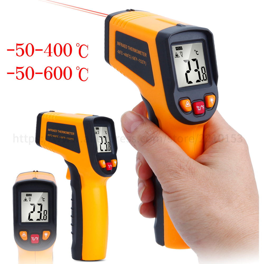 цена на Handheld Digital Non Contact Infrared Thermometer -50-400/600 degree Celsius Laser LCD Display IR Infrared Measurement Gun