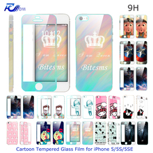 FDM Ultra Thin Cartoon Tempered Glass Film for iPhone 5 5S 5SE Explosion proof Screen Protector