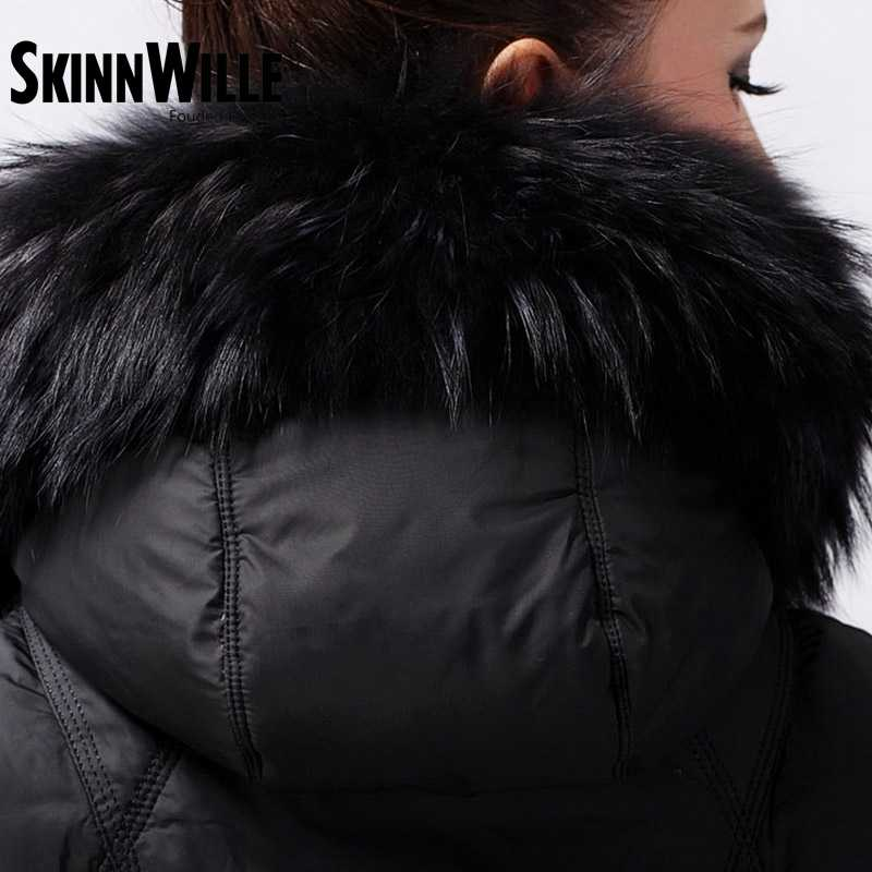 Skinnwille 2017ファッション肥厚大毛皮の襟ダウンコートの女性中期長い冬新しい女性冬コートとジャケット