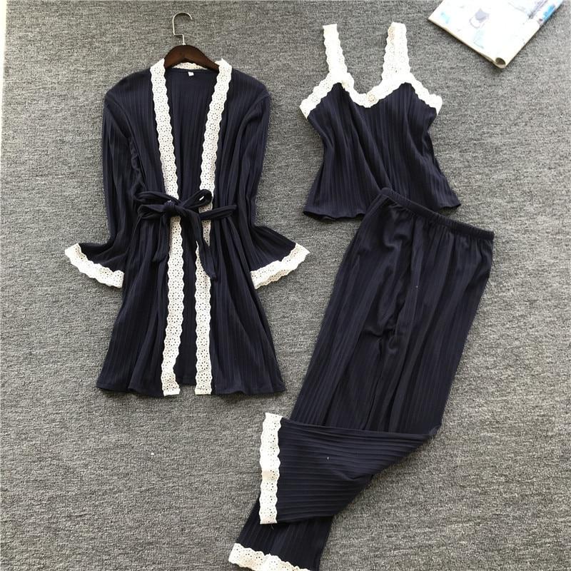 Image 5 - Lisacmvpnel Autumn 3 Pcs Cotton Lace Sexy Woman Pajamas Nightdress+Cardigan+Long Pant Set Female Pijama-in Pajama Sets from Underwear & Sleepwears