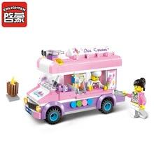 Enlighten City Ice Cream Pink Van Truck Model Building Block Toys Educational Figure Gift For Children Compatible  1112 цена в Москве и Питере
