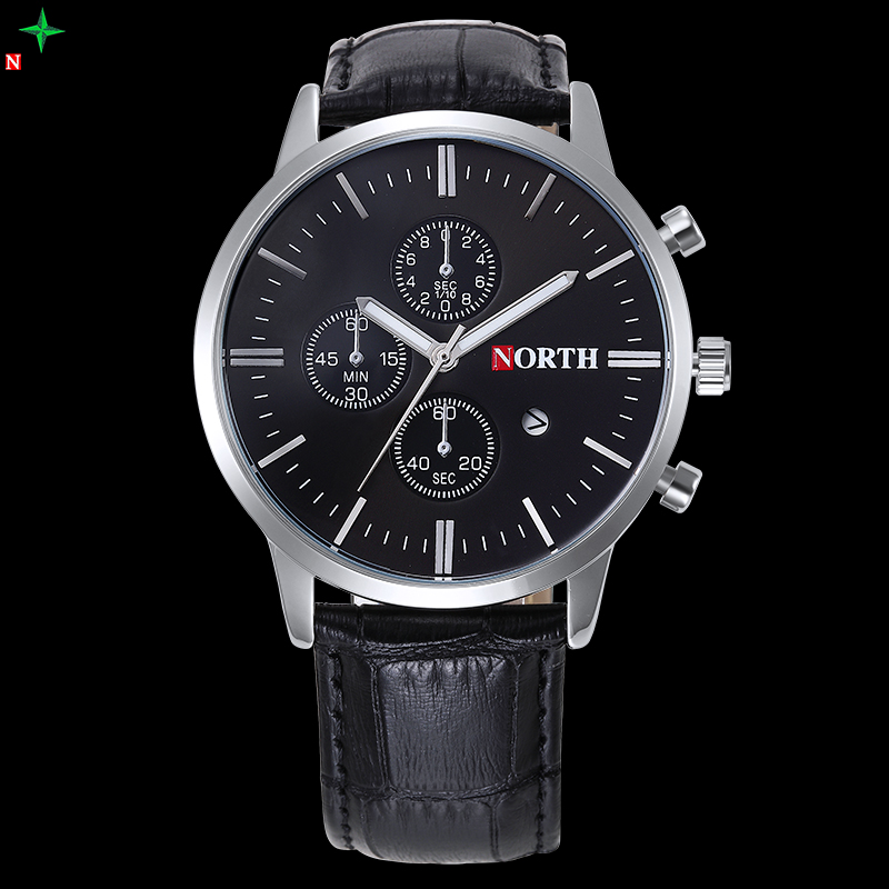 NORTH 2017 Mens Watches Top Brand Luxury Quartz Watches XFCS Leather Waterproof Men s Sports Wristwatches